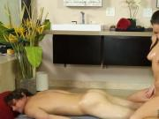 Naughty masseur milks a pervs dick with her skilled hands