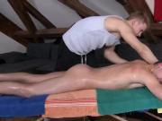 Teen masseur rubs down straighty
