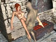 Sexy 3D cartoon babe gets fucked hard by a goblin