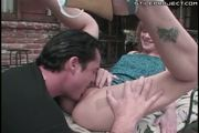 Dirty blonde gets an anal creampie outside