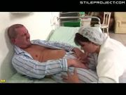 fat nurse takes a huge anal creampie