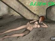 Hot 3D babe sucks and rides an aliens hard cock