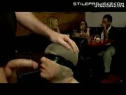 slave girl used like a cock sucking slut by multiple men in a restaurant