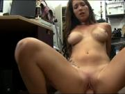 Busty babe sells her vinyl and slammed by pawn keeper