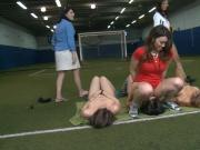 Pledges showing off ass and licking in soccer fields