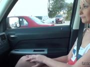 Teen hitchhiker riding dick in the car