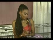 Ebony slave pleases brunette mistress with deep fisting