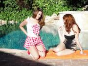 Lesbian beauties go indoors for toy fun