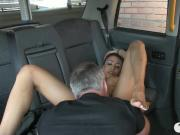 Taxi driver fucks her big tits passenger in the backseat