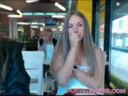Amateur girl striptease in public cafe