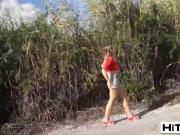 Petite brunette teen couldn't ever guess that her hitchhiking would be so painful for her pussy