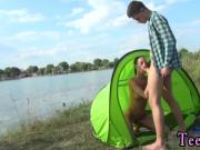 Amateur blowjob talking first time Eveline getting poked on camping
