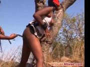 Tied up black whore humiliated outdoors whipping