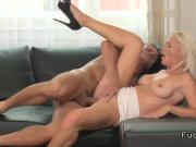 Blonde mature lady rode dick on the sofa