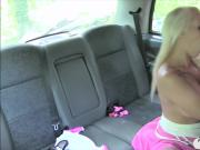 Busty blond babe banged by fraud driver in the backseat