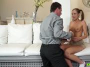 Teen Molly Manson deep throat blowjob her step dad
