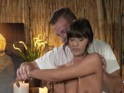 Busty tanned milf fucks on massage