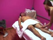 Asian masseuse tugging dick of her lucky customer