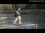Fatty dives into frozen lake