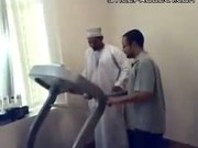 arab man's first time on treadmill - gets scared - very funny!