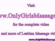 Close up lesbian massage table action