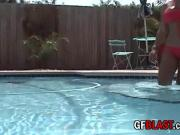 Smoking Hot Latina Striptease Poolside In Bikini