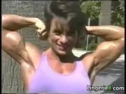 Bodybuilder Flexing Outside