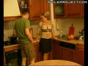 Mature bonde woman fucked in the kitchen