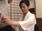 Nippon asian mature gives tit job to lucky dude
