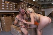 Hot blonde whore is fucked and jizzed on at work