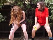 Amateur lesbians piss outside