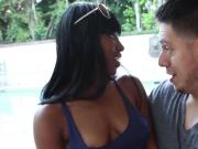 Pretty ebony chick Ashton Devine outdoors sex with neighbor