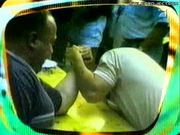 Arm Breaks During Arm Wrestling Match