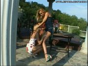 Sophie Moone lesbian strap-on outdoors