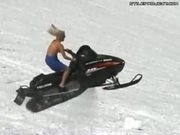 Blonde Chick Snowmobile Jump Fail