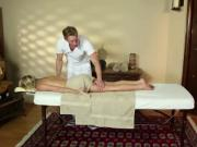 Blonde babe unsure about masseur