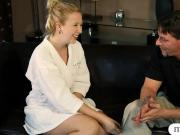 Hot blonde masseuse Samantha Rone screwed by her client