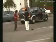 Skater Nearly Run Over By SUV