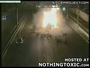 car crashes and explodes on highway