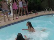 Lesbian college teens swim and muff dive