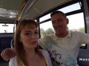 Amateur babes partying and sharing cock in a bus