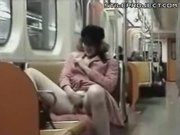 Chick Rubs Her Pussy & Tits On Public Subway