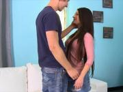 Slender brunette teen Lacie Channing fucked in her pussy