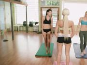 Yoga of two brunettes and sexy big boobs blonde trainer
