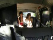 Two kinky big tits passengers anal fucked and cum facialed
