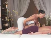 Stunning masseuse fucks blond guy in massage room