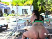 Huge boobs girlfriend anal banged pov in backyard