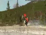 800 Feet Wheelie On Snowmobile