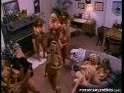 Sorority girls in lesbian sex orgy