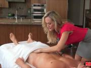 Huge jugs milf Brandi Love hot threesome on massage table
